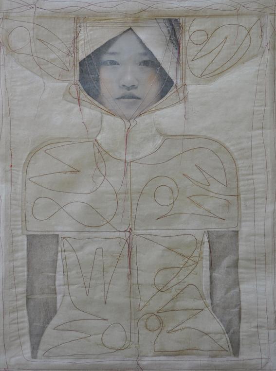 cucita, filo rosso-cm.105x80-2012