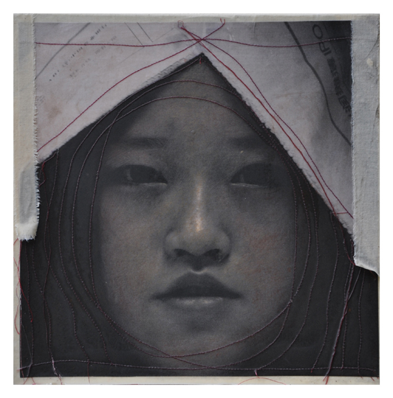 cm 30x30, foto cucita e cera, 2011